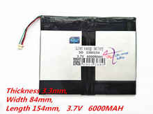 4 thread 3384154 3.7V 6000mAH 337784*2 (polymer lithium ion battery) Li-ion battery for tablet pc 7 inch 8 9inch