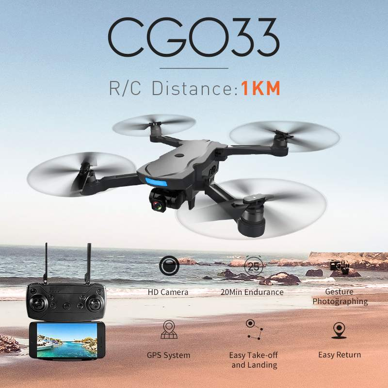 CG033 Quadcopter WiFi FPV W/ HD 1080P Gimbal Camera GPS Brushless Servo Foldable RC Drone Helicopter RTF Kids Gif