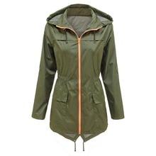 Women Slim Waist Waterproof Hooded Coat Casual Windproof Outwear With Pockets Solid Zippers