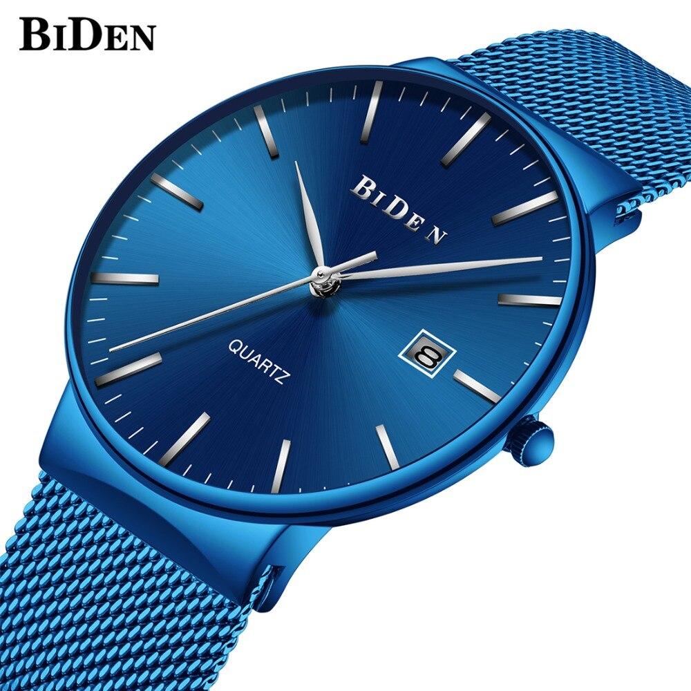 BIDEN Fashion Mens Watches Top Brand Luxury Quartz Watch Men Casual Slim Mesh Steel Date Waterproof Wristwatches Male Clock