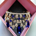 New Vintage Blue Rhinestone Bridal Tiara Fashion Golden Diadem for Women Wedding dress Hair jewelry Princess Crown accessories