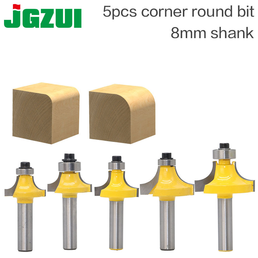 "5pcsBit Round Over Edge Forming Router Bit Set - 8"" Shank Woodworking Cutter Fillet Knife"