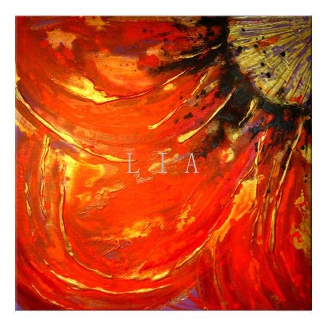 Sans Cadre Fleur Rouge Peinture Moderne Texture Toile Peinture