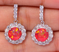 "Elegant ! Distinctive & Wholesale & Retail For Women Jewelry Red Fire Opal & Cubic Zirconia Silver Stud Earrings 7/8"" OH3377"