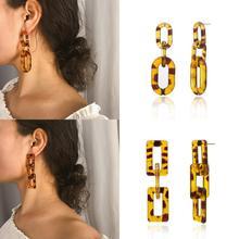 Fashion Geometric Earrings Bohemian Square Round For Women Chain Jewelry Long Leopard Boho Style Earring