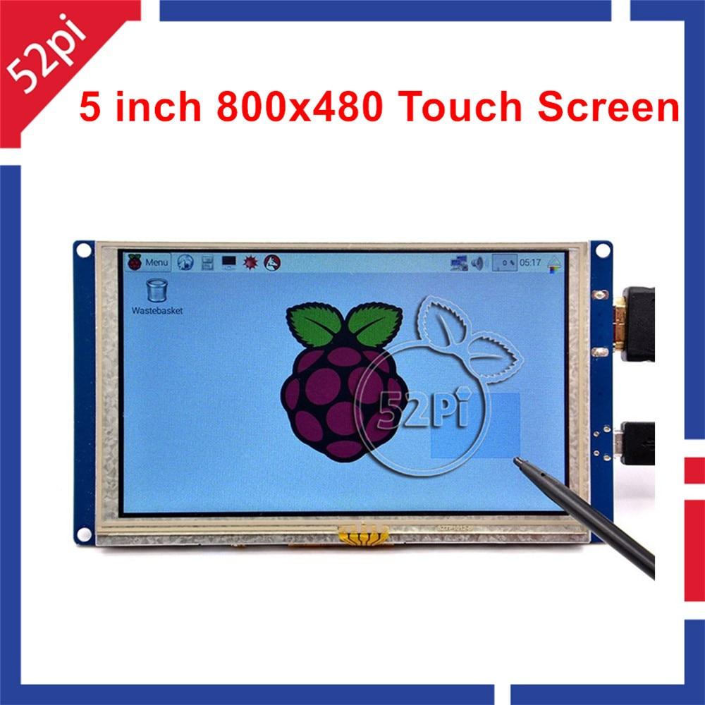52Pi Free Driver 5 Inch 800*480 TFT LCD HDMI Touch Screen Display For Raspberry Pi 4 B / 2B / 3B / 3B Plus (3B+) / PC Windows