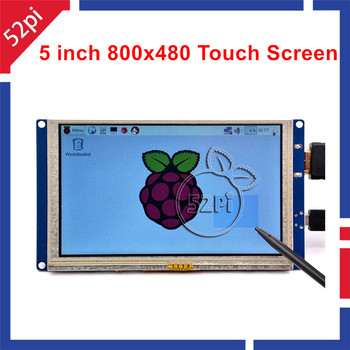 52Pi Free Driver 5 inch 800*480 TFT LCD HDMI Touch Screen Display for Raspberry Pi 4 B / 2B / 3B / 3B Plus (3B+) / PC Windows 7 inch 165 100mm lcd display with 4 wire resistive 800 480 at070tn94 lcd screen module with controller board for raspberry pi 3b