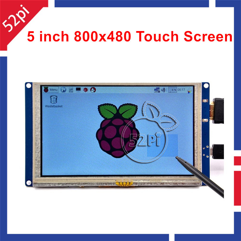 52Pi Free Driver <font><b>5</b></font> <font><b>inch</b></font> 800*480 TFT LCD HDMI Touch Screen <font><b>Display</b></font> for <font><b>Raspberry</b></font> <font><b>Pi</b></font> 4 B / 2B / 3B / 3B Plus (3B+) / PC Windows image