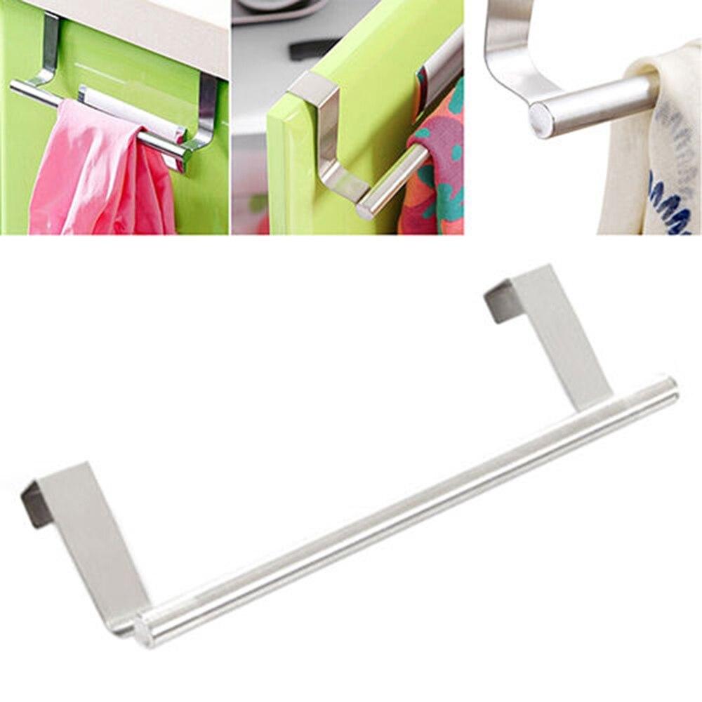 Stainless Steel Towel Bar Holder Over the Kitchen Cabinet Cupboard Door Hanging Rack Storage Holders Accessories