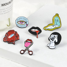Women Face Enamel Pins Sexy black lips Cut tongue Badges Red Pill coat Twisted clock Lapel Pins Brooches for women Girls Jewelry(China)