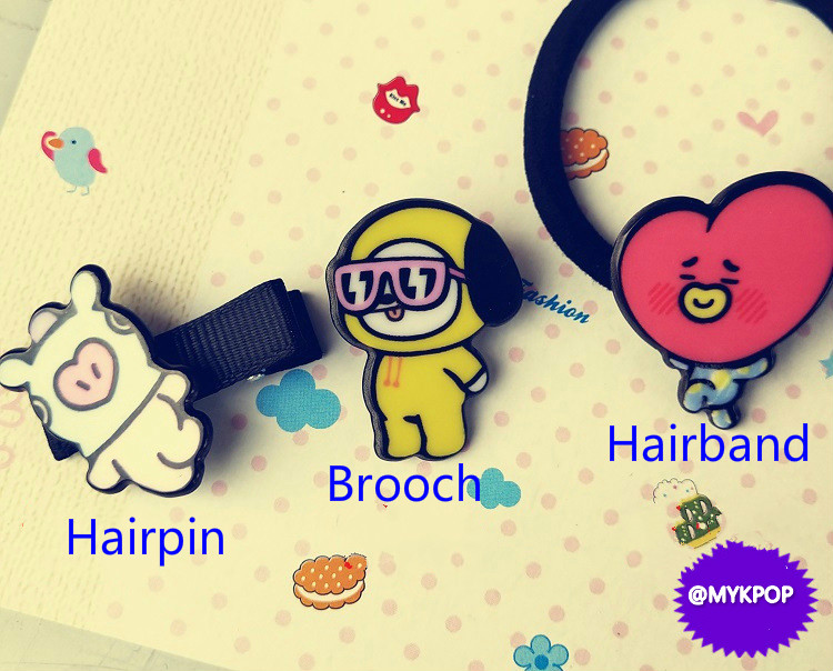 mykpop Collection Here bt21 Got7 Exo Twice Seventeen Wanna One Hairpins Brooches Hairbands Set Kpop Fans Collection Sa18070202