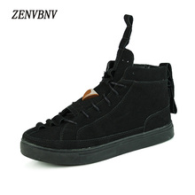 ZENVBNV Winter Plush Warm Men Casual High Top Shoes Leather Fashion Lace-up Solid Black Red Colors Flat With Youth Casual Shoes