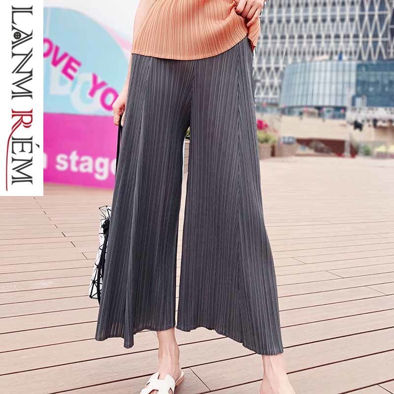 LANMREM 2019 New Fashion Women Clothes High Waist Elastic Pleated Vintage Loose   Wide     Legs   Female   Pants   WG54101