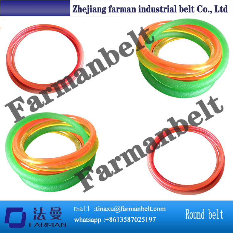 high flexible round polyurethane (PU) belt green orange transparent pu round belt polyurethane drive belt smooth and rough surface for sale