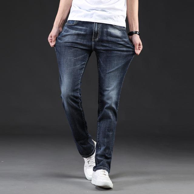 Icpans Denim Jeans Men Slim Casual Autumn Winter Jeans Men Stretch Straight Long Trousers Jeans for Men Size 40 42 44 46