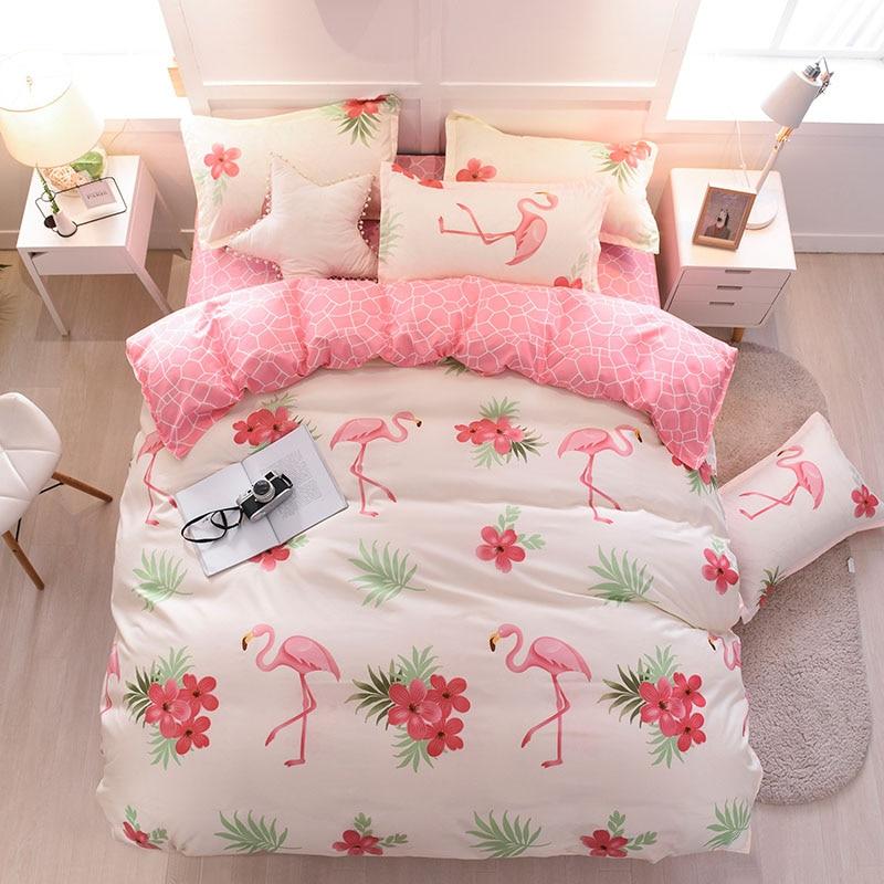 Bedding Set luxury Flamingo red 3 4pcs Family Set Sheet Duvet Cover Pillowcase Boy Room flat sheet bed set pineapple in Bedding Sets from Home Garden