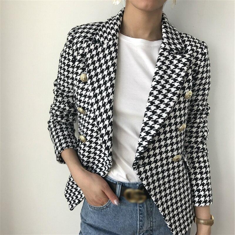 Wonder 2018 neue herbst frauen elegante überprüft plaid blazer langarm outwear anzug büro dame kerb beiläufige geschäfts jacke