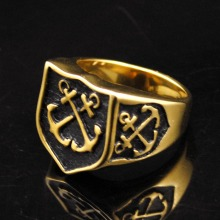 Dolaime Fashion Gold Color Navy Anchor Ring Men Women Jewelry Wholesale Vintage Stainless Steel Shield Ring,GR421