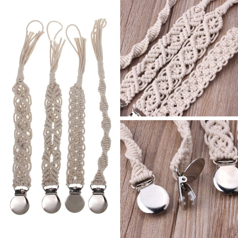 Baby Vintage Crochet Cotton Pacifier Clips Chain Dummy Clip Pacifier Holder Nipple Soother Chain For Infant Baby Feeding #415