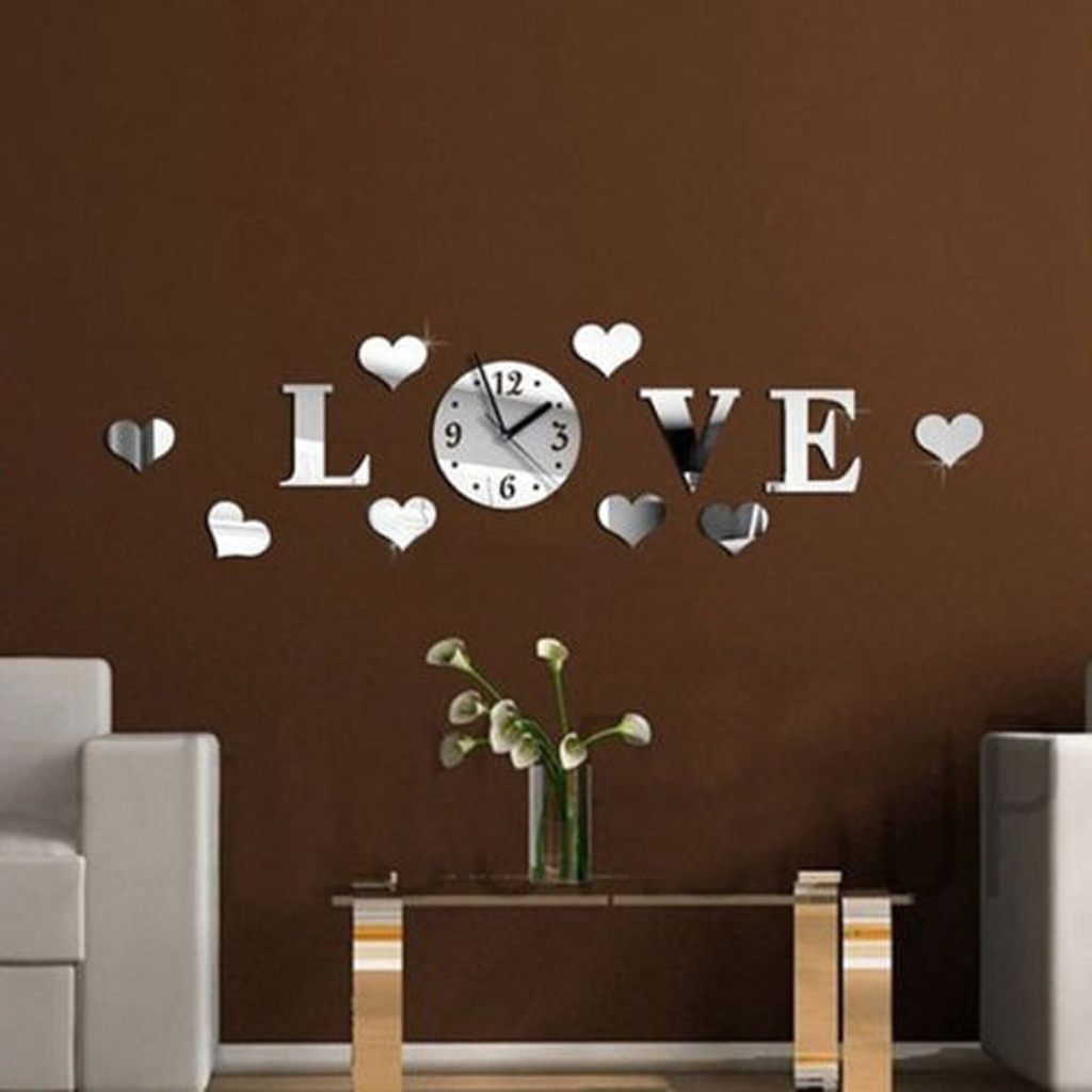 New Hot Sale Home Modern Decoration Living Room Love Crystal Mirror Decal Wall  Clock DIY Silver - Compare Prices On Love Wall Clock- Online Shopping/Buy Low Price