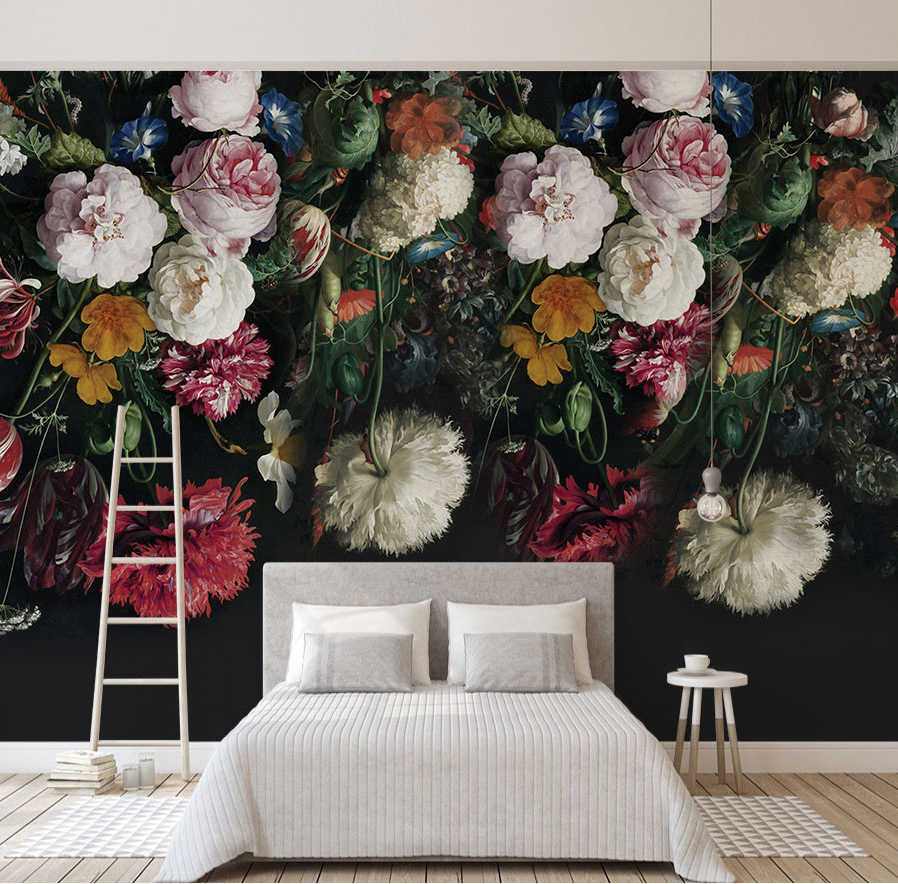 Bacaz Black Bottom Large Papel Murals 3d Rose Flower Wallpaper For