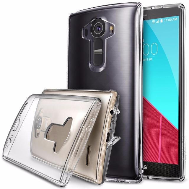 100% original fusão ringke caso para lg g4-360 proteção completa limpar back tampa do telefone casos com plugue poeira