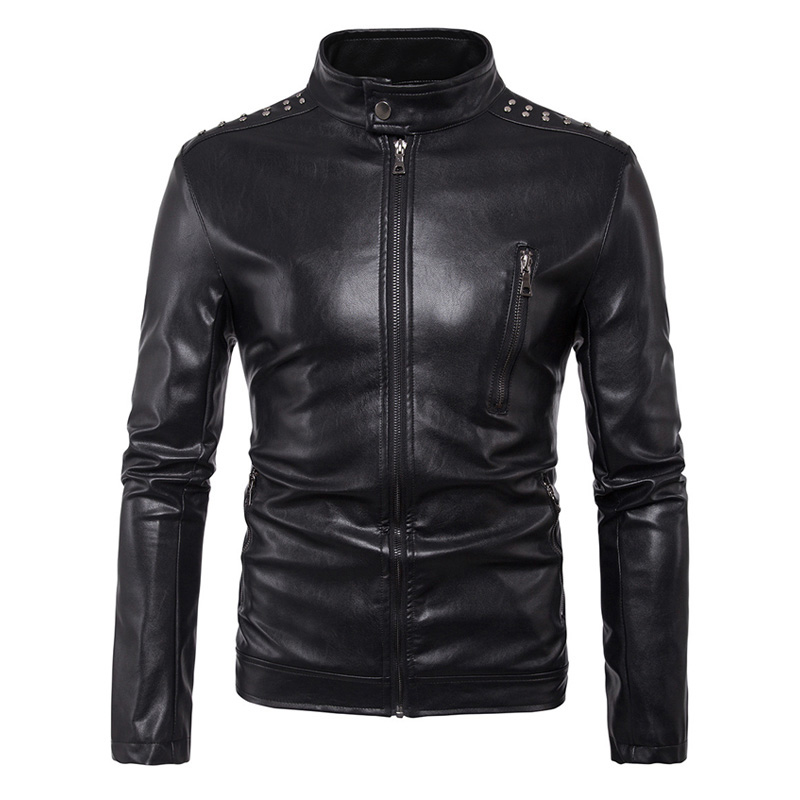 New Vintage Mens PU Leather Motorcycle Jacket Coat Men Stand Collar Slim Fit Multi Rivets Punk PU Leather Moto Jacket Size M-5XL степ платформа makfit mak stp