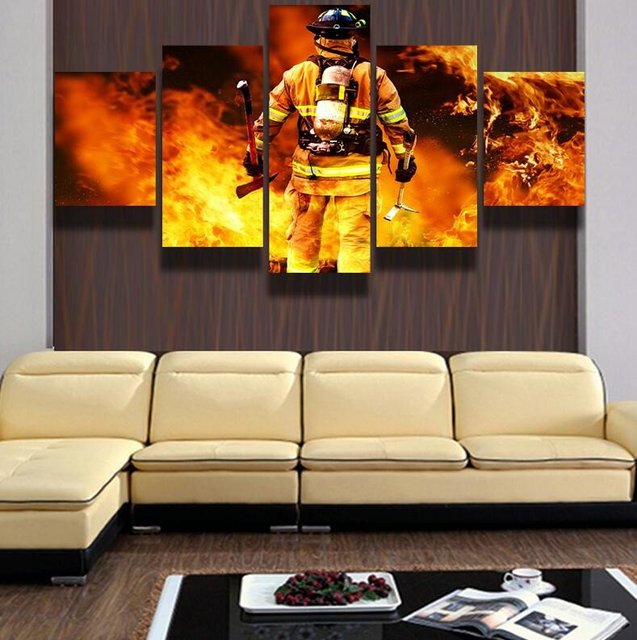 5 Panels Canvas Prints Firefighter Hero Canvas Painting Poster Home Fireman  Decor Wall Art For Living
