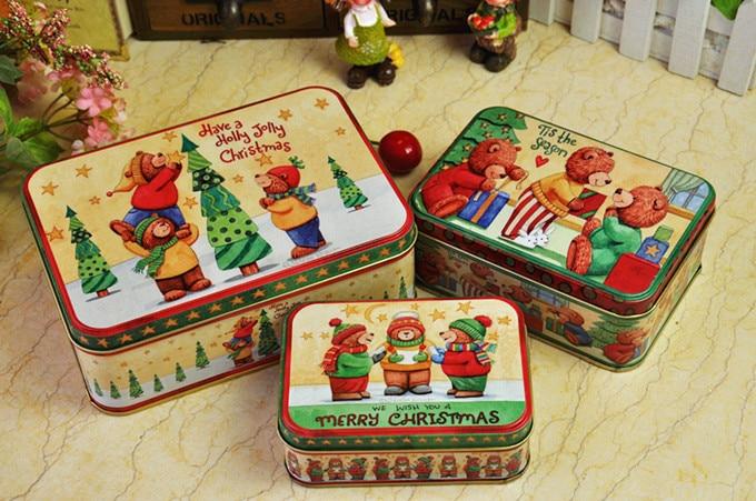 3 unids / set Estilo de Navidad Caja de lata Caja de almacenamiento de metal Caja de joyería Caja de dulces Caja de regalo de navidad contenedor de alimentos