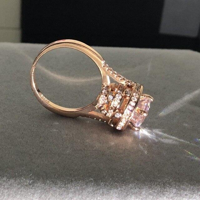 14de9ec70222 De Lujo 925 Plata oro rosa anillo de compromiso boda la joyería para las  mujeres eterna ronda 3ct simulado diamante CZ anillos dedo
