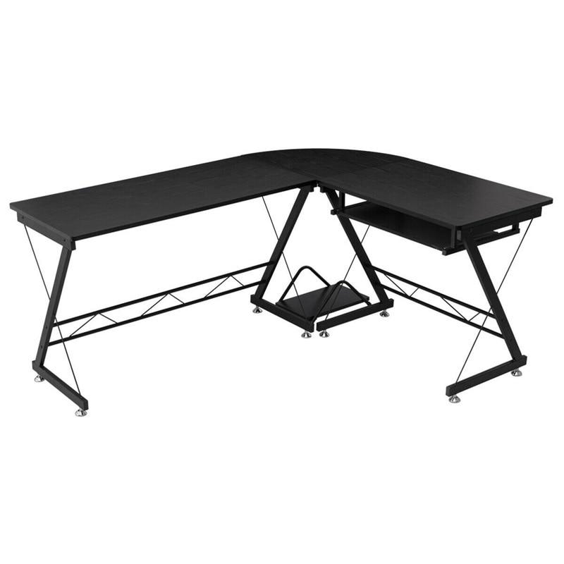 Haute qualité Design moderne l-forme coin ordinateur bureau d'étude Premium MDF bureau finition métal cadre CPU Stand Table HW56544