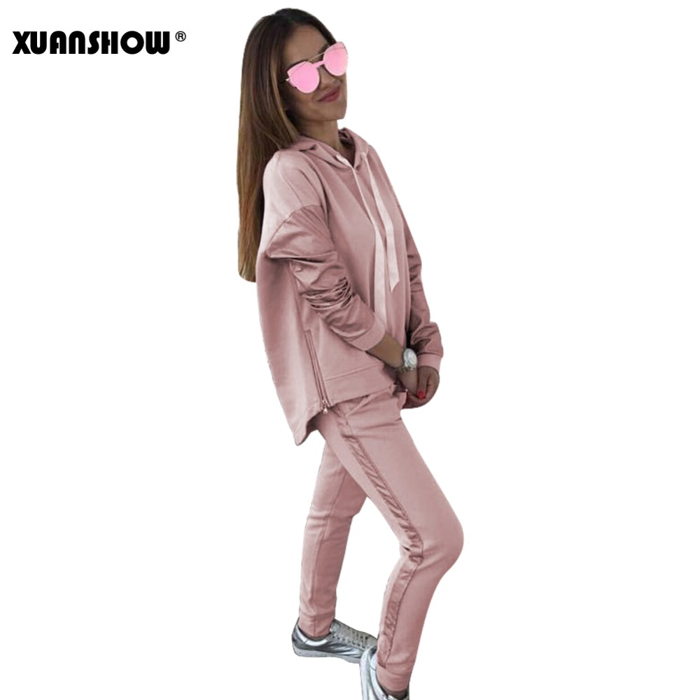 XUANSHOW Fashion Cotton Tracksuit Women Loose Clothes Outfits Autumn Winter Patchwork Long Sleeve Hoodies+Long Pants 2 Piece Set