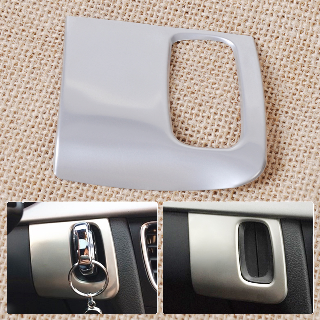 beler 1Pc Silver Stainless Steel Dash Ignition Keyhole Molding Cover Trim for <font><b>Audi</b></font> <font><b>A4</b></font> A5 2009 <font><b>2010</b></font> 2011 2012 2013 2014 2015 image