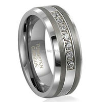 8mm Unisext Tungsten Carbide Anniversary Ring With 7 Brilliant CZ Diamonds Inlay Mens Wedding Band Come