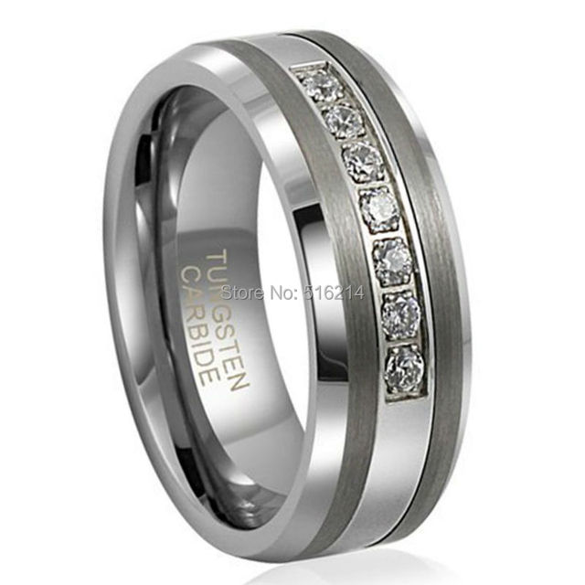 8mm Unisext Tungsten Carbide Anniversary Ring with 7 Brilliant CZ Diamonds Inlay Mens Wedding Band Come with Velvet Box