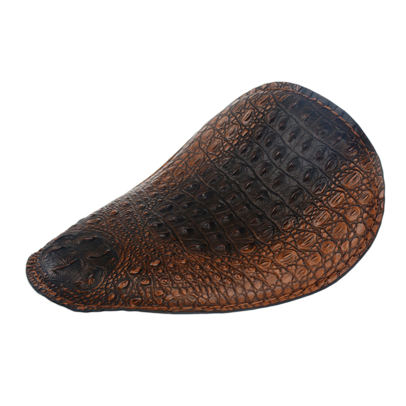 Motorcycle Brown Crocodile pattern Front Solo Seat Cover for Harley Sportster Bobber Chopper Custom cafe racer