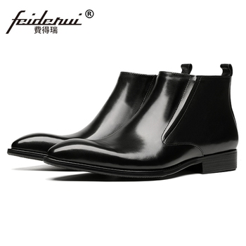 2019 Italian Pointed Toe Man Chukka Formal Dress Wedding Shoes Genuine Leather Men's Cowboy  Chelsea Ankle Boots JS213