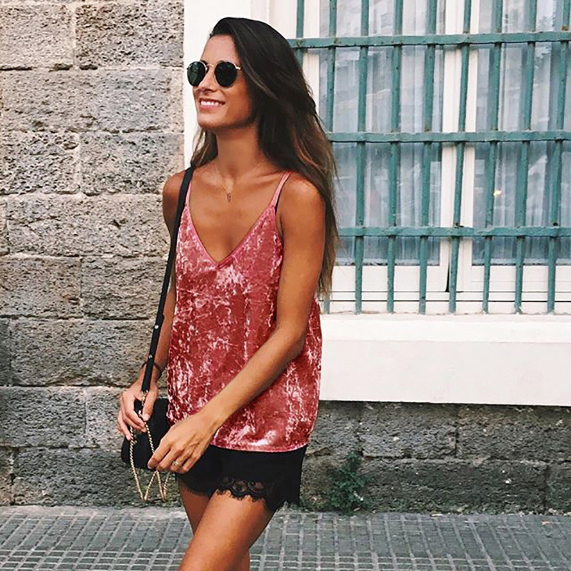 2018 women clothing tops Camisole hot sale Velvet Sexy V Neck Tank Top Backless Strap Ladies Camis pink Brown Vintage Tube Tops