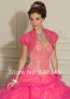 Organza Crystal Sequined Beading Quinceanera Dresses With Jacket 2014 Ball Gown Sweetheart Sexy Bandage Party Dress 15 Year Q16