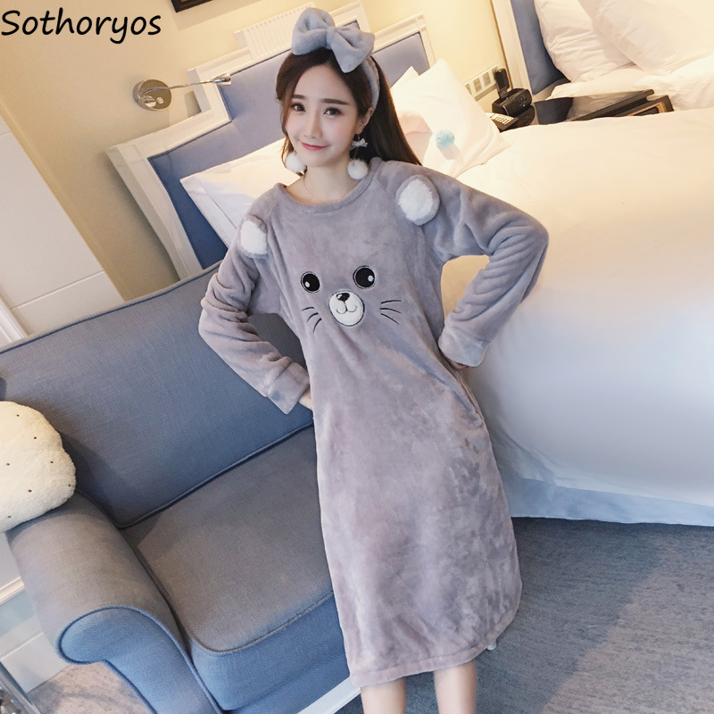 66edc35c68 Nightgowns Women Long Cartoon Printed Striped Kawaii Various Color Homewear  Womens Winter Flannel Warm Sleepshirts Soft Trendy-in Nightgowns    Sleepshirts ...