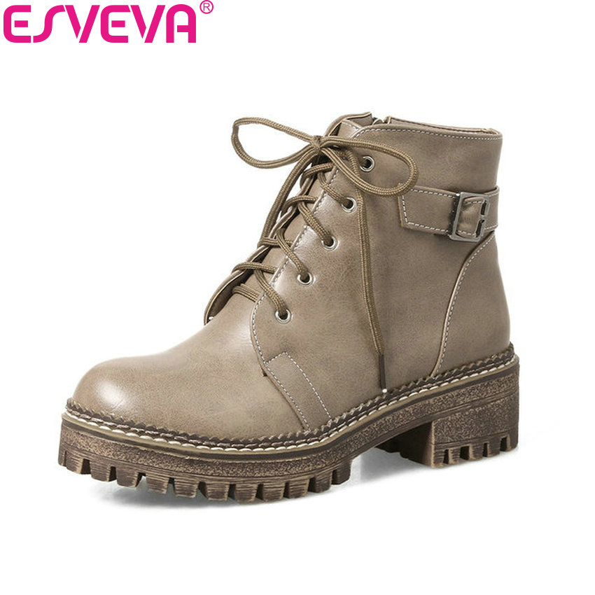 ESVEVA 2018 New Women Boots Autumn Spring Shoes Ladies Western Style Buckle Strap PU Leather Square Heel Ankle Boots Size 34-43 vinlle 2018 women autumn shoes ankle boots khaki pu leather square low heel round toe ladies motorcycle shoes size 34 39