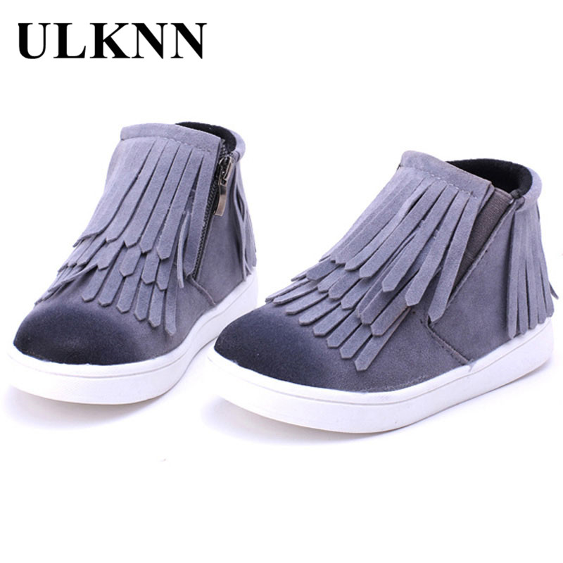 Cotton Fabric Children Snow Boots Warm Girls Boots Fashion Zip Fringe Kids Shoes Rubber Gray Boy New Style Baby Fur Large Size