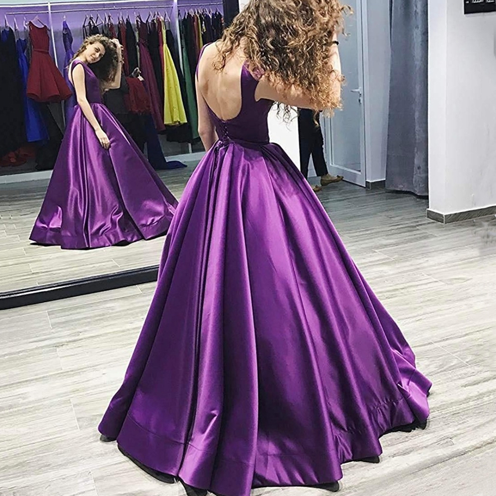 Scoop Long   Prom     Dresses   Backless Floor Length Ball Gown Sleeveless Lace Up Satin Evening Formal Party   Dress   Vestido De Fiesta
