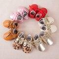 Moda de invierno bebé zapatos oxford lace up leopardo del bebé mocasines de cuero genuino botas de suela blanda niño niños zapatos oxford