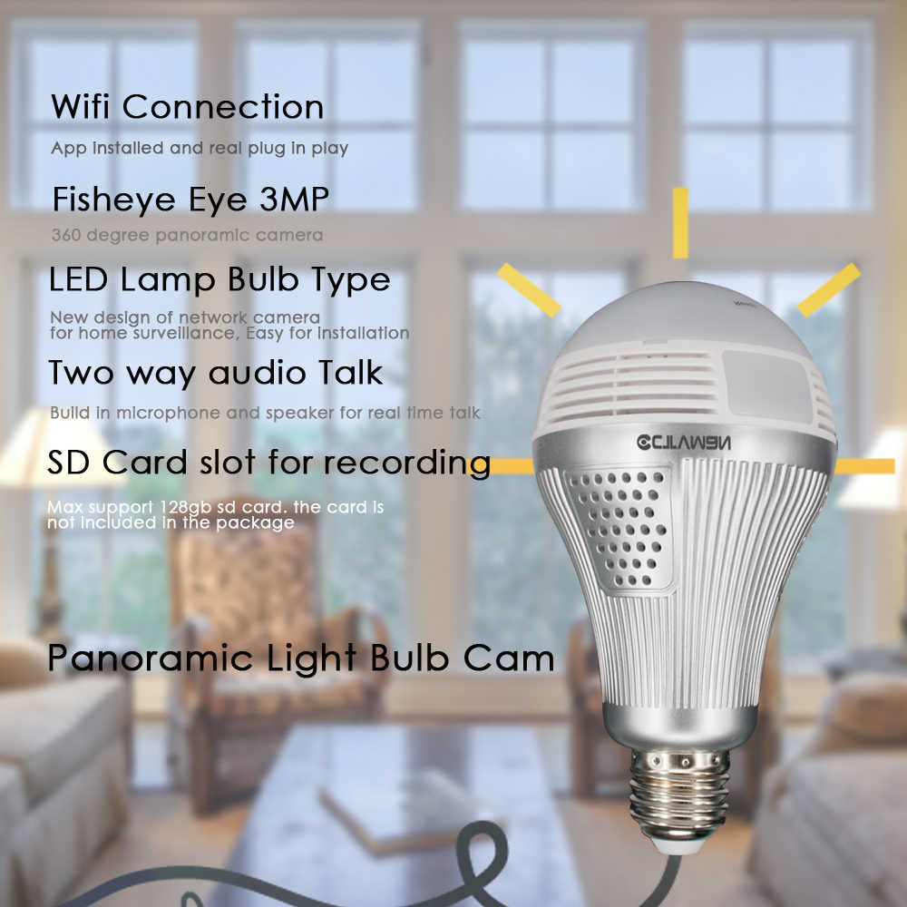 CTVMAN 3MP Bulb Light Wireless IP Camera 16GB SD Card HD Fisheye 360 Degree Panoramic Led Lamp Mini Wireelss Security P2P VR Cam