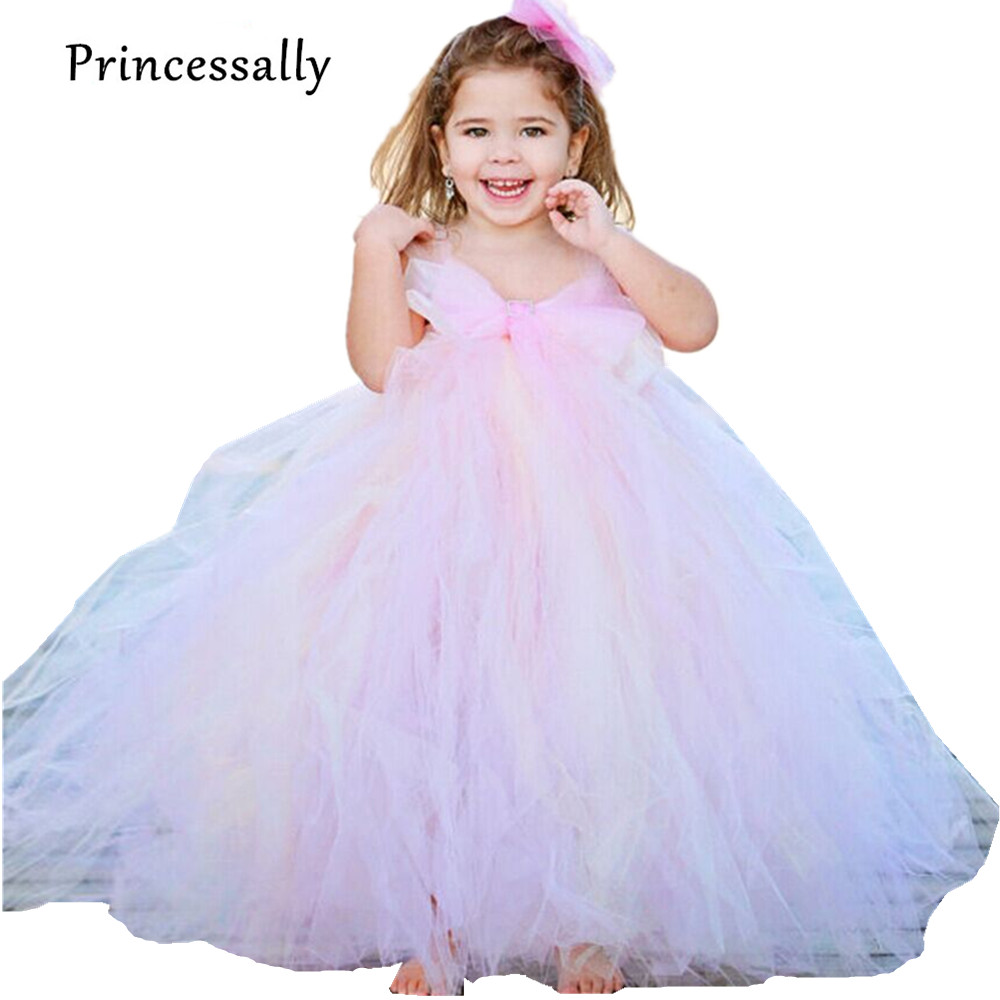 US $18.18 18% OFFErröten Rosa Blumenmädchenkleider Tutu Puffy Tüll Kinder  Abendkleider Graduation Dresses Für Kinder Baby Parteikittel Party