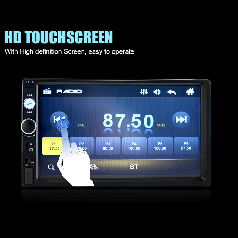 2018 7 Inch High Definition LED Screen Double Spindle Vehicle MP5 Plug-in Machine MP4 Car Player Bluetooth Voice Back Priority hopkins 40215 plug in simple vehicle wiring kit