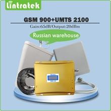 Ganancia 65dB Doble Banda Amplificador de Señal 2G GSM 900 mhz + 3G WCDMA UMTS 2100 mhz Móvil Repetidor de Señal juego completo con Antena y 15 M Cables