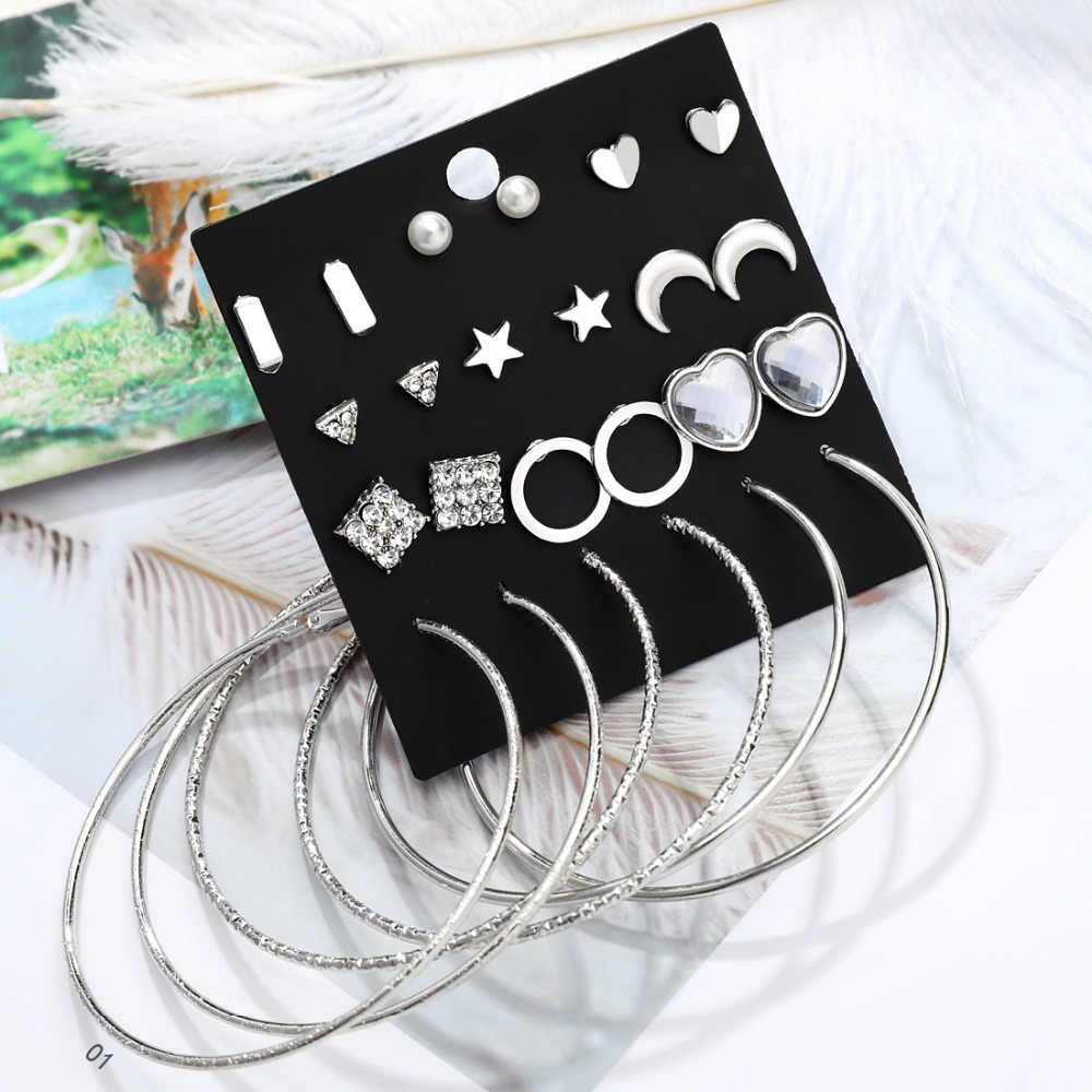 12 Pairs Crystal Stud Earrings for Women Boho Boucle D'oreille Jewelry Cubic Zirconia Gold Silver Big Circle Heart Brincos