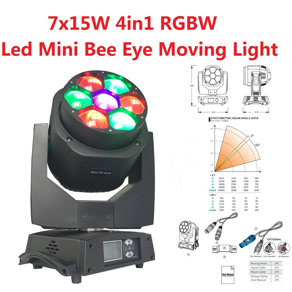 2016 Mini Bee Eye Led Moving Head Light Clay Paky Luxury 7x15W RGBW 4in1 Led Lamps 4-60 degree Zoom DJ Stage Lights стоимость